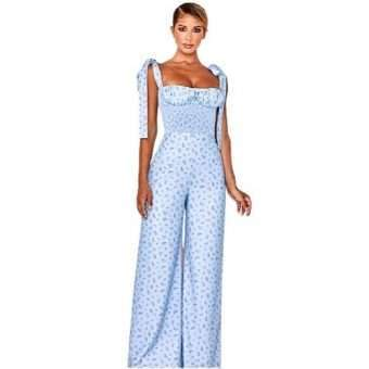 Blue Sweetheart Pleated Floral Jumper