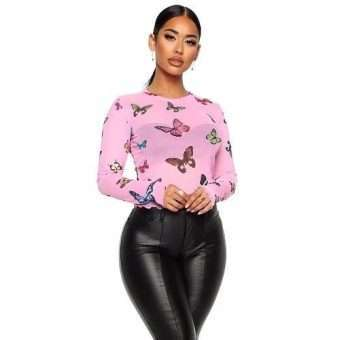 Pink Mesh Long Sleeve Butterfly Top