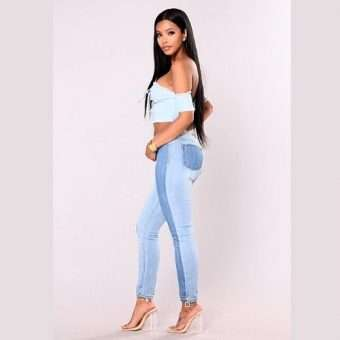 Pretty Bombshell_ Dual Color Contrast Skinny Jeans
