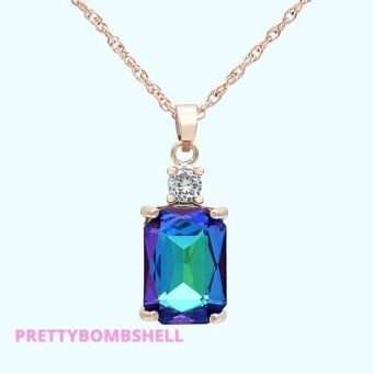 Pretty_Bombshell_Blue Fire Crystal Rose Gold Necklace