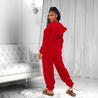 Pretty_Bombshell_Red Teddy Sherpa Lounge Jumpsuit