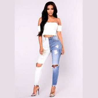 Pretty_Bombshell_Two Tone High Waisted Ripped Skinny Jeans