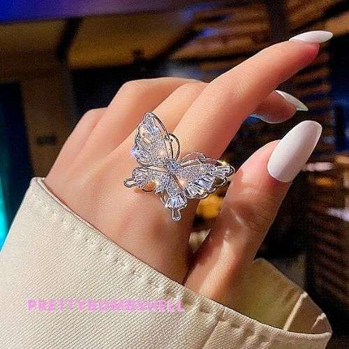 Silver Crystal Diamond Butterfly Ring