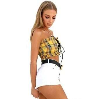 Yellow Plaid Tie Front Crop Tube Top