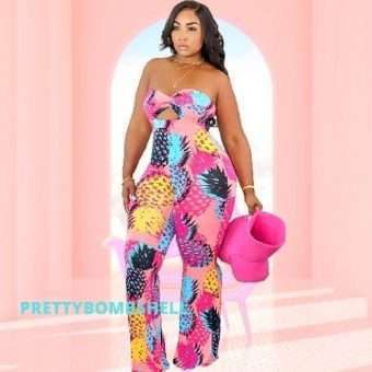 Pink Curvy Strapless Tropical Jumpsuit