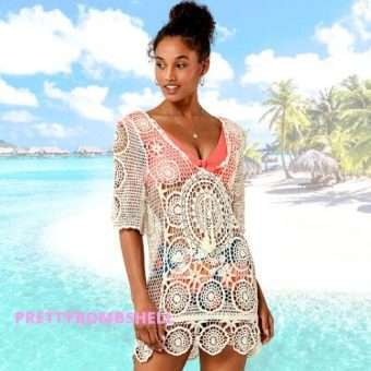 Cream Crochet Backless Cover Up