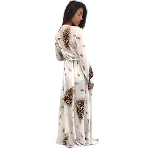 White Leopard Long Cover Up