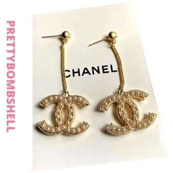 Chanel Gold Plated Pearl Logo Earrings