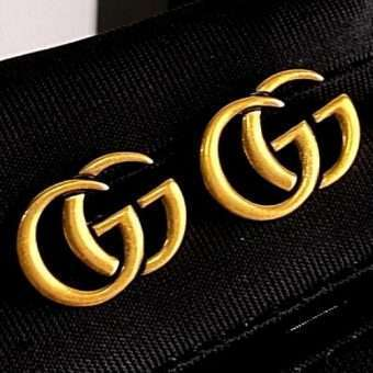 Gucci Gold Plated Logo Earrings
