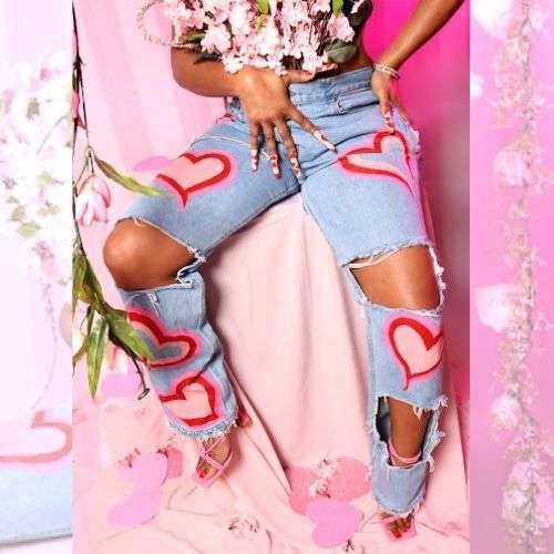 Hearts On Hearts Ripped Jeans