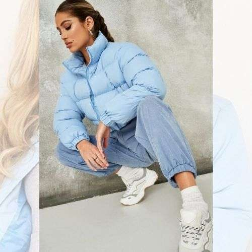 Ice Blue Candy Crop Puffer Jacket