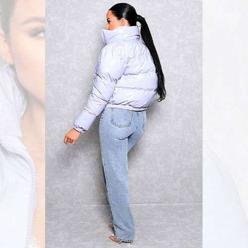Lilac Candy Crop Puffer Jacket