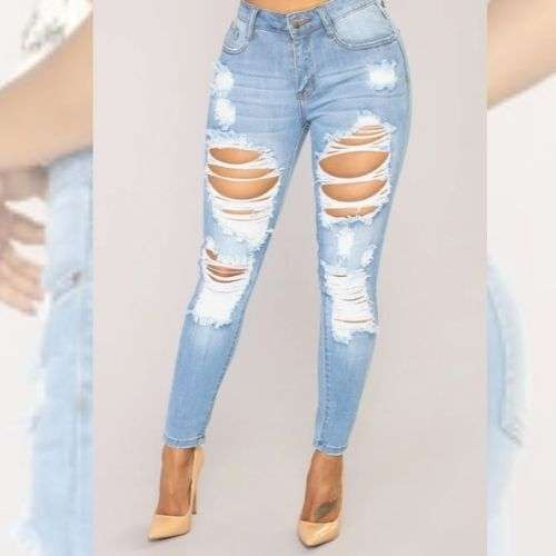 Ripped High Waist Ripped Skinny Jeans