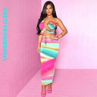 Strappy Open Front 2 Piece Skirt Sets