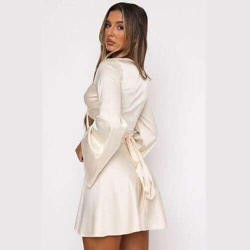 Creamy Tie Front High Waisted Skirt Set