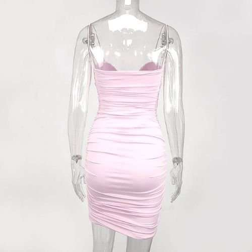 Dreamy Pink Pleated Push Up Party Dress