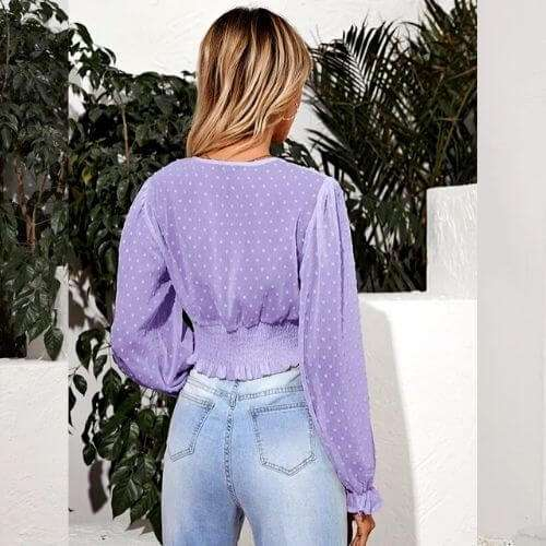 Long Sleeve Plunging Smoked Top