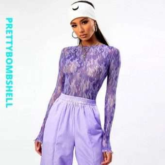 Purple Flame Mesh Top With Sleeves